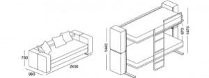 Диван двухъярусная кровать: размеры